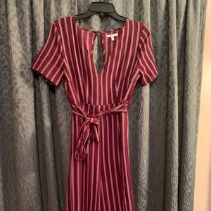 Maroon and white striped maurices jumpsuit